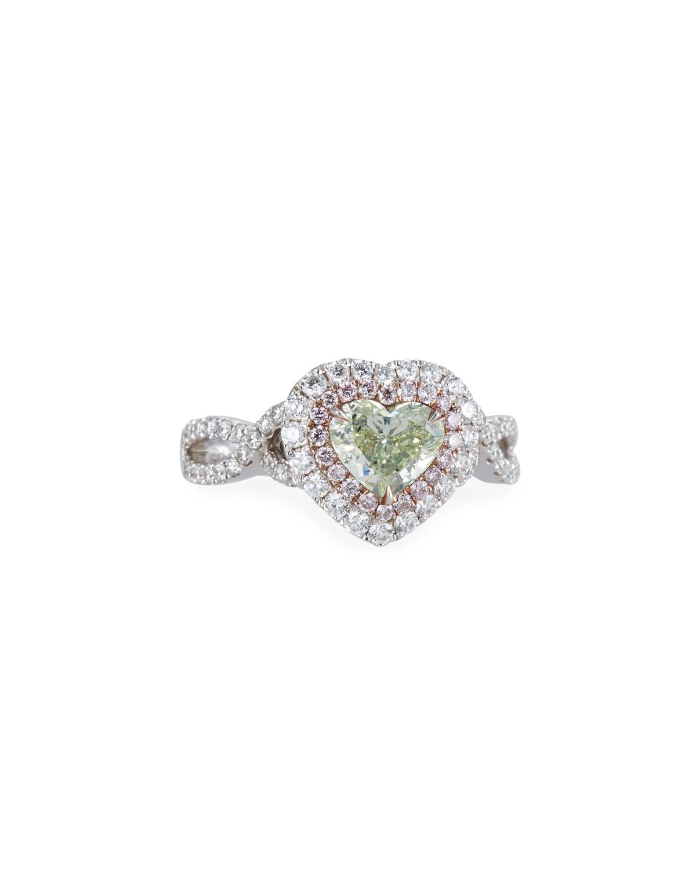 ALEXANDER LAUT 18K White Gold Tricolor Diamond Heart Ring