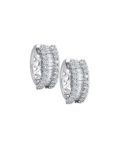 Baguette & Round Diamond Huggie Earrings in 18K White Gold