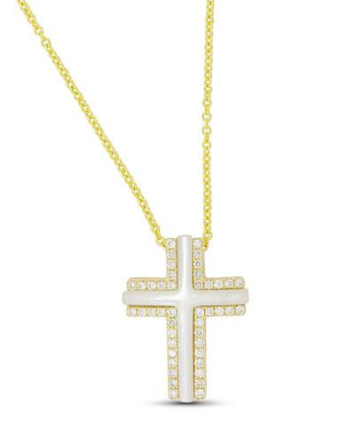 Luna 18k Cross Necklace w/ Mother-of-Pearl & Diamonds