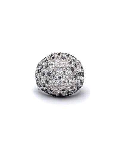 18k White Gold Black & White Diamond Dome Ring