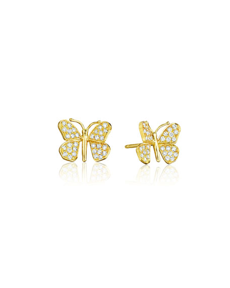 Mimi So Wonderland 18k Diamond Butterfly Stud Earrings