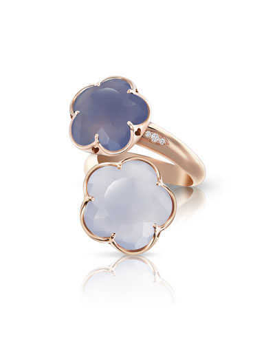 Bon Ton Chalcedony Flower Bypass Ring in 18K Rose Gold, Size 6