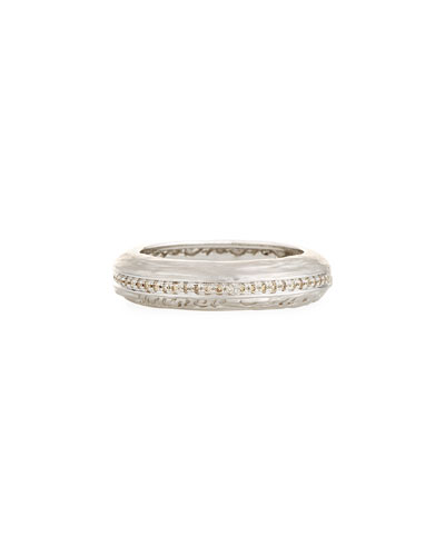 The Other Half Textured 18K White Gold Band Ring with Champagne Diamonds ...