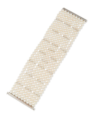 Nine-Strand Pearl Bracelet with Diamonds