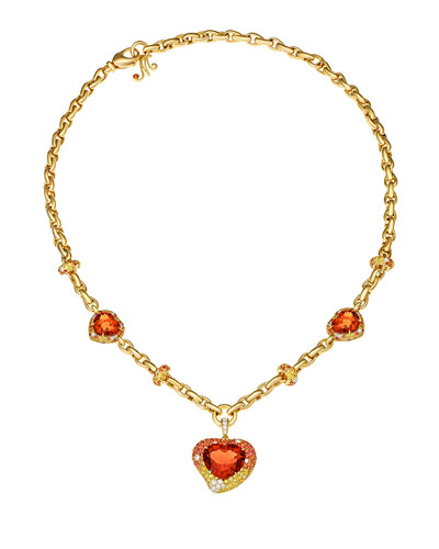 Hearts Desire Citrine & Sapphire Necklace with Diamonds in 18K Gold
