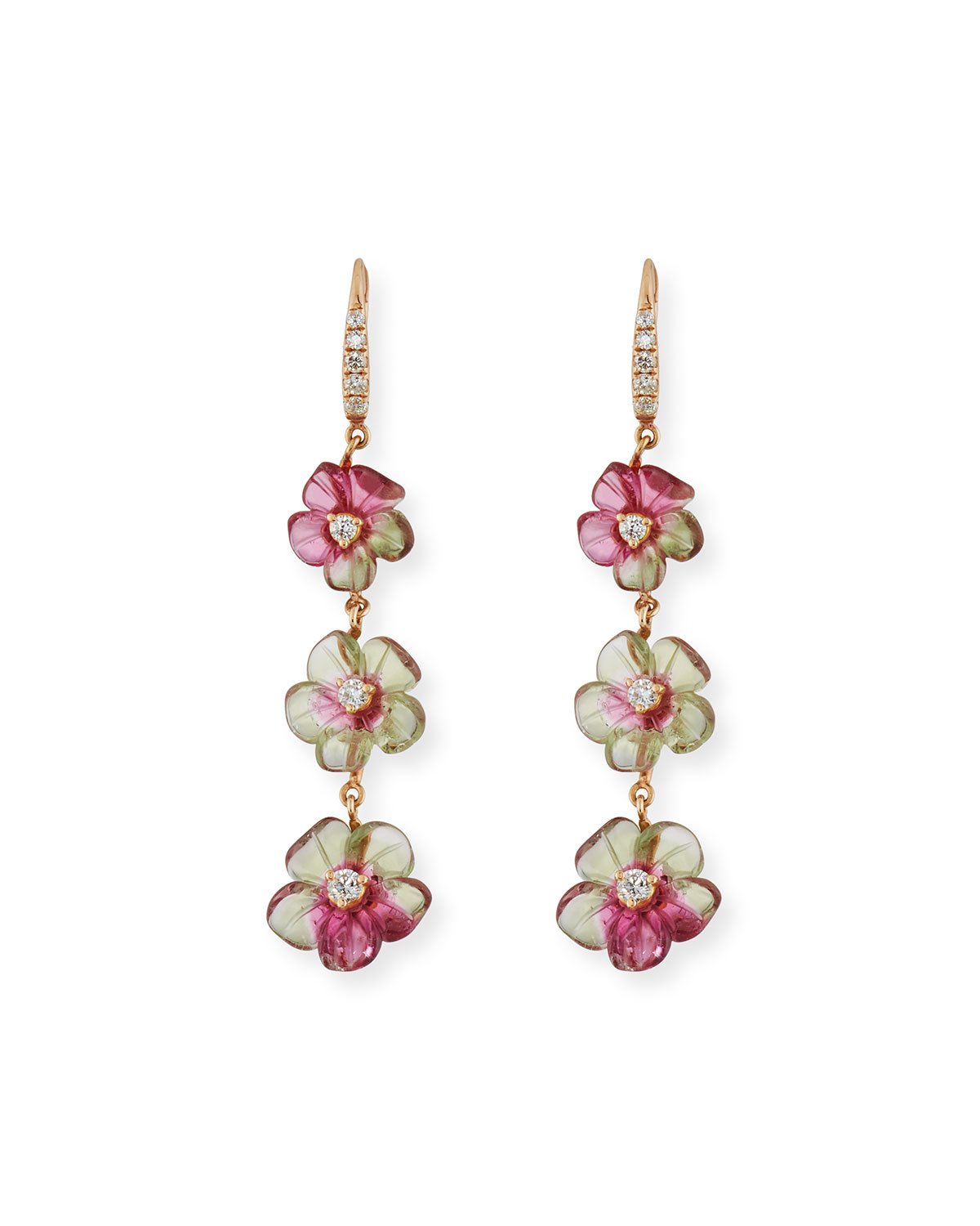 RINA LIMOR FLORAL TOURMALINE DROP EARRINGS WITH DIAMONDS