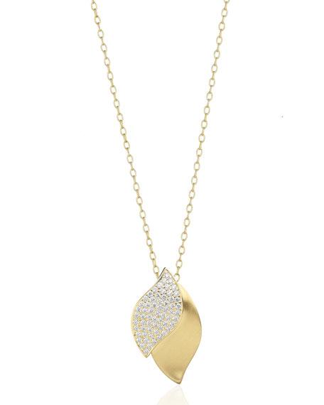 Carelle Lotus Diamond Pave Pendant Necklace
