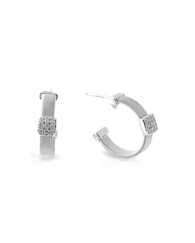 Masai 18K White Gold Small Hoop Earrings with Diamonds