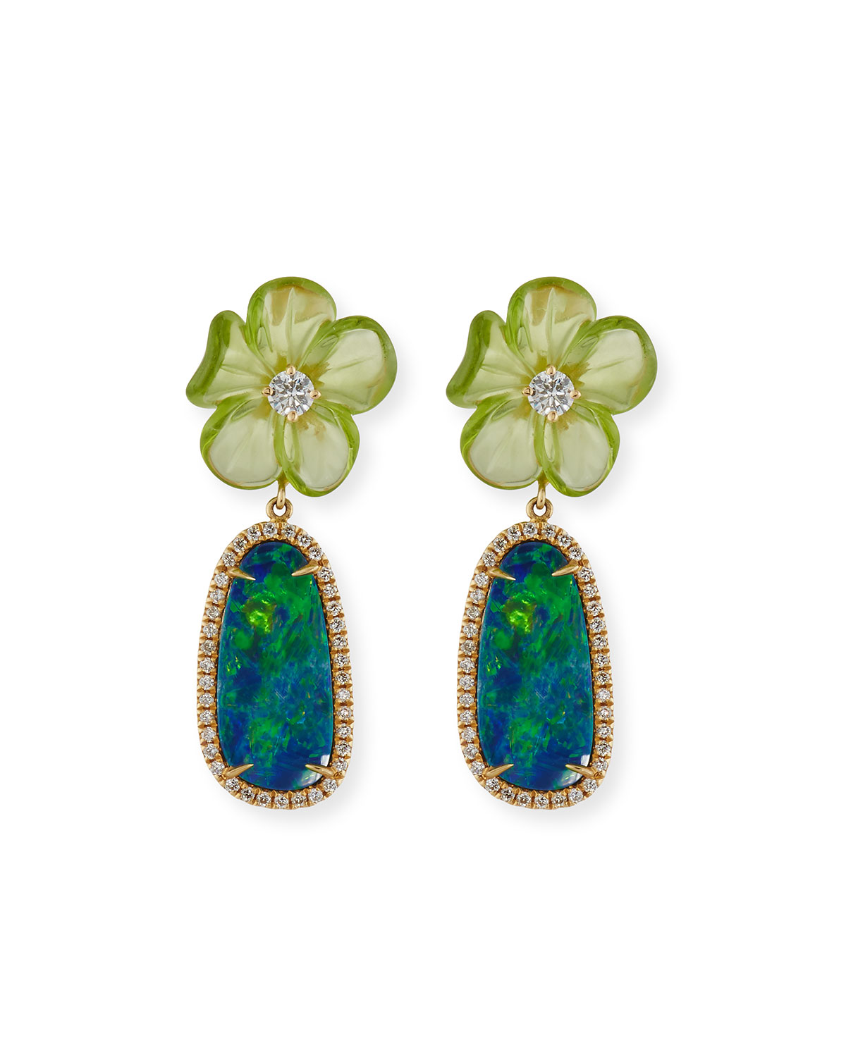 RINA LIMOR Floral Opal & Peridot Earrings With Diamonds