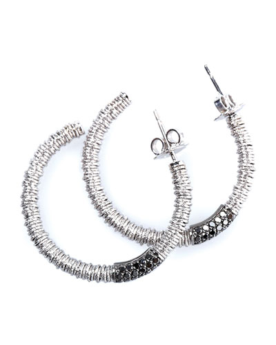 JOY 18k White Gold Hoop Earrings w/ Black Diamonds