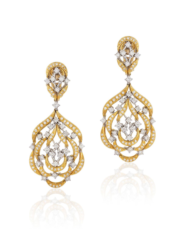 ANDREOLI 18K Gold Diamond Dangle Earrings