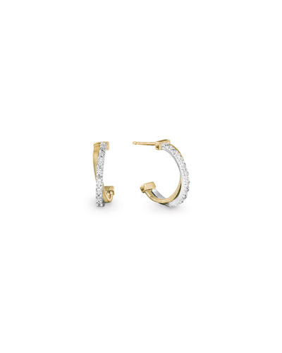 Goa Two-Tone Small Hoop Earrings with Diamonds