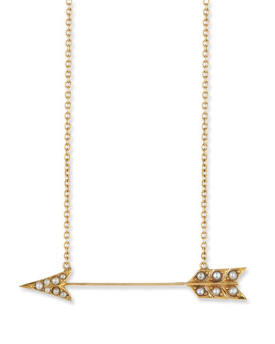 Turner & Tatler 14k Pearly Crescent Pendant Necklace Hduqkw