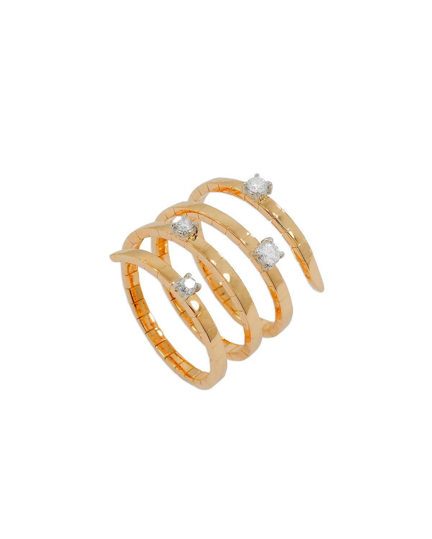 STAURINO FRATELLI MAGIC SNAKE 18K ROSE GOLD FLEX RING WITH DIAMONDS