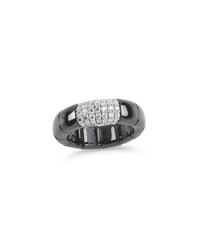 Black Ceramic & 18K White Gold Ring with Diamonds, 0.38tdcw