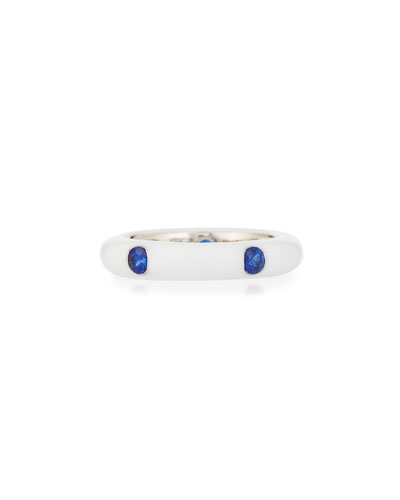 White Enamel Ring with Five Blue Sapphires, Size 6.75