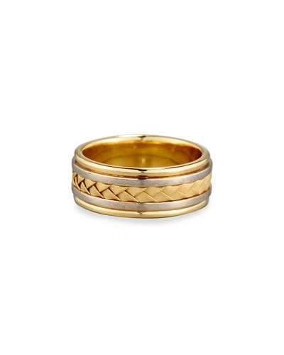 Gents Woven 18K White & Yellow Gold Wedding Band Ring, Size 9.5