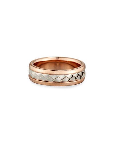 Gents Center Weave Wedding Band Ring in 18K Rose Gold & Platinum, Size 9.5