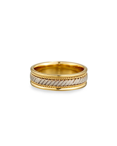 Gents Twisted 18K Yellow & White Gold Wedding Band Ring, Size 10 ...