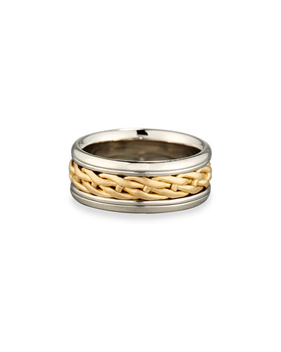 Gents Woven Platinum & 18K Gold Wedding Band Ring, Size 10