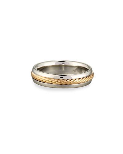 Gents Braided Platinum & 18K Gold Wedding Band Ring