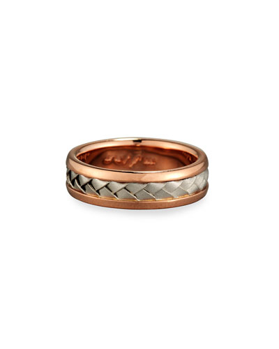 Gents Center Weave Wedding Band Ring in Brushed Rose Gold & Platinum, Size 10.5