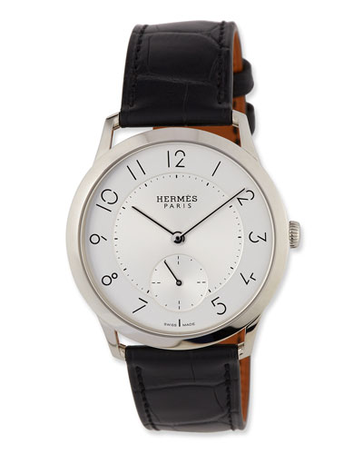 Slim d'Hermès GM Watch with Black Alligator Strap