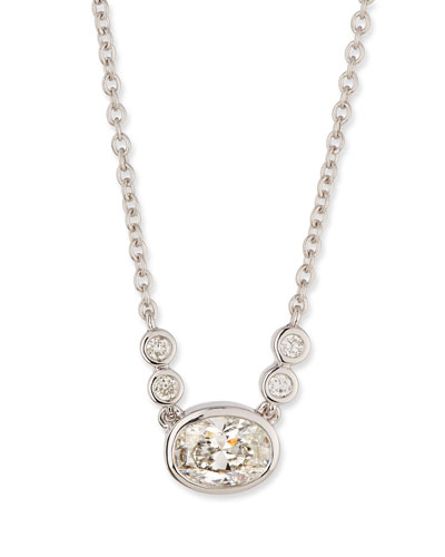 Bezel-Set Oval Diamond Pendant Necklace in 18K White Gold, 0.55 tdcw
