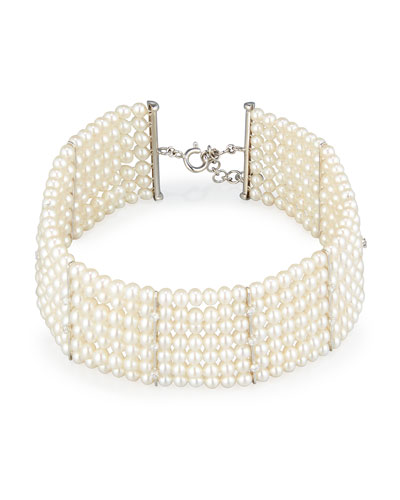 Seven-Strand Pearl Choker Necklace with Diamonds