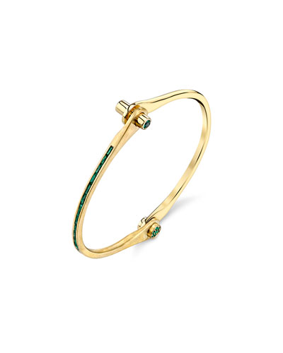 Baguette Emerald Handcuff Bracelet in 18K Yellow Gold