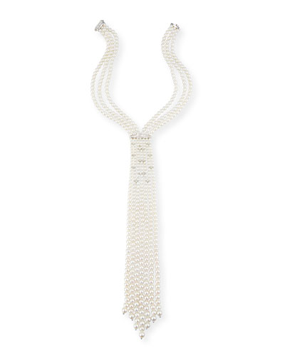 Pearl Tie Necklace with Diamonds