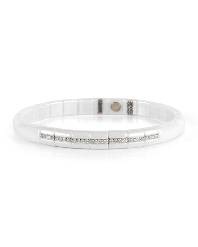 Pura White Ceramic & 18K White Gold Bracelet with Diamonds, 0.25 tdcw ...
