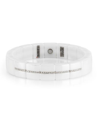 Domino White Ceramic & 18K White Gold Bracelet with Diamonds, 0.31 tdcw ...