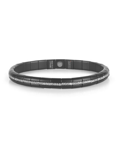 Pura Matte Black Ceramic & 18K White Gold Bracelet with White Diamonds, ...
