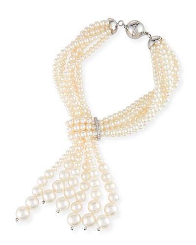 Multi-Strand Pearl Tassel Bracelet with Diamonds