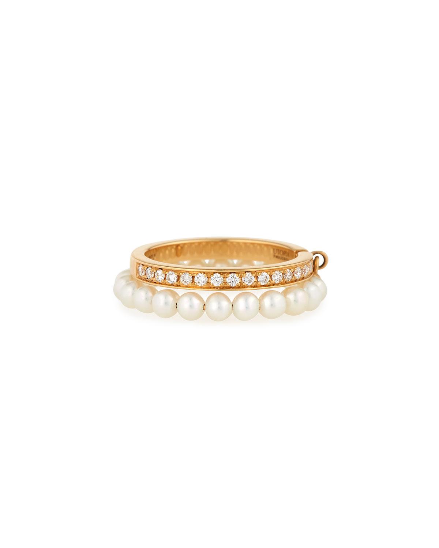 UTOPIA CHANNEL-SET DIAMOND & PEARL RING IN 18K GOLD