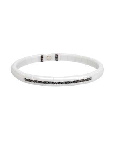 Pura White Ceramic & 18K White Gold Bracelet with Black Diamonds, 0.25 ...
