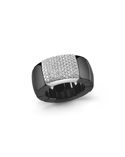 Domino Black Ceramic Stretch Ring with Pavé Diamonds
