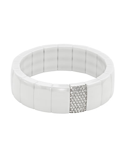 Domino White Ceramic Stretch Link Bracelet with Pavé Diamond Row