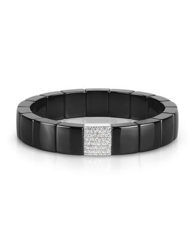 Domino Black Ceramic Stretch Link Bracelet with Pavé Diamond Spacer
