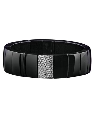 ROBERTO DEMEGLIO 18K White Gold & Black Ceramic Domino Rectangular Stretch Bracelet With Diamonds in White/Black