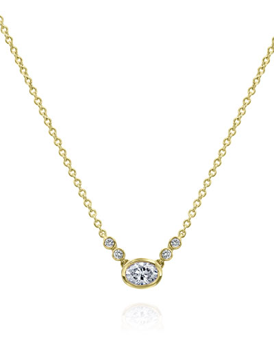 Bezel-Set Oval Diamond Pendant Necklace in 18K Yellow Gold, 0.30 tdcw