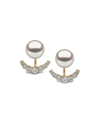 18K Yellow Gold Pearl & Diamond Jacket Earrings