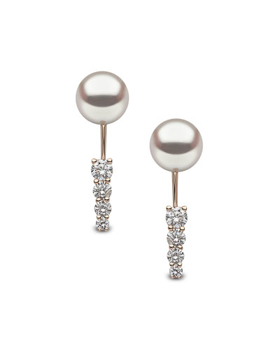 18K Rose Gold Linear Diamond & Pearl Jacket Earrings