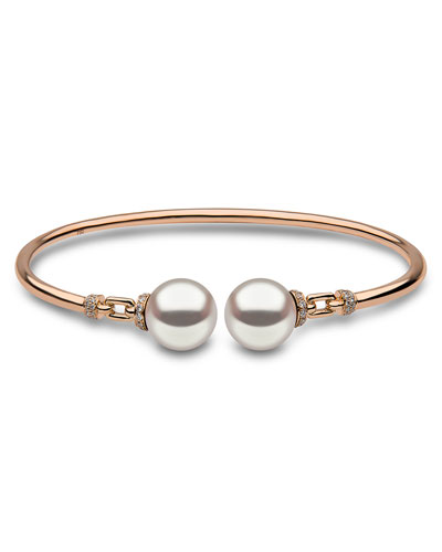 18K Rose Gold & Pearl Bangle with Diamonds