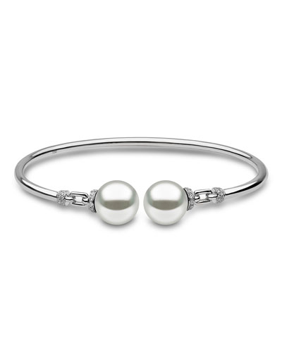 18K White Gold & Pearl Bangle with Diamonds