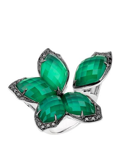 Love Me Love Me Not Green Agate Quartz Flower Ring with Black Diamonds