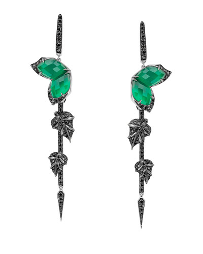 Love Me Love Me Not Green Agate Quartz Earrings with Black Diamonds