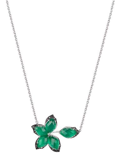 Love Me Love Me Not Green Agate Quartz Pendant Necklace with Black Diamonds