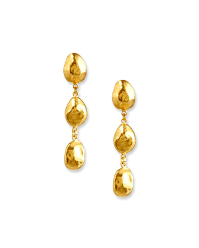 Triple-Nugget Drop Earrings in 24K Gold